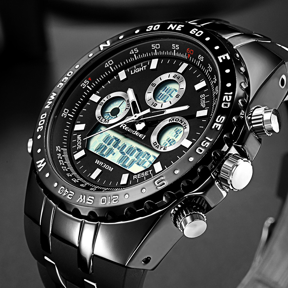Readeel haut Sport Quartz montre bracelet hommes militaires montres imperméables Led montres numériques hommes Quartz montre bracelet mâle - 1