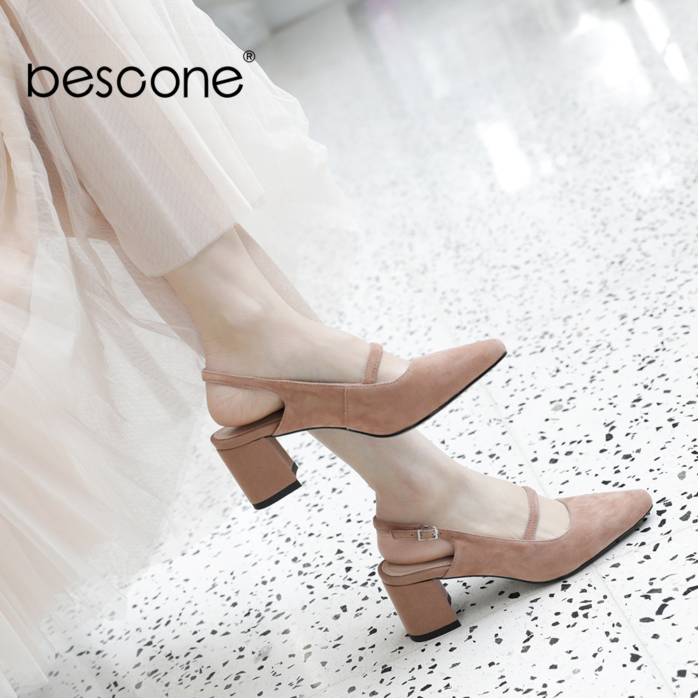 BESCONE Elegant Women Pumps Spring High Quality Handmade Square High Heels Buckle Female Shoes Sexy Party