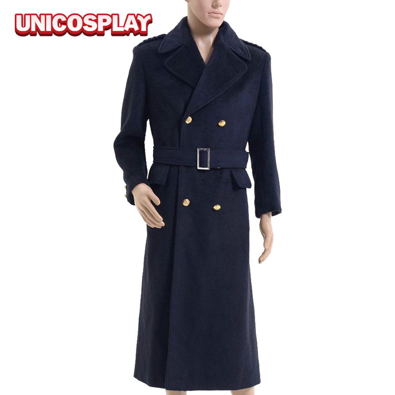 Doctor Who Costume Captain Jack Harkness Cosplay Wool Trench Long Navy Winter Coat Party Suits