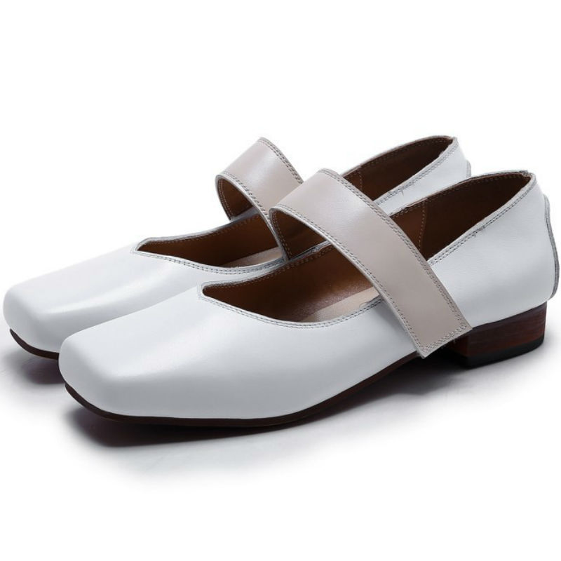 ФОТО Brand show 2017 summer Real cow leather flat heel ankle-strap single shoes ladies white mary janes square toe shallow flats