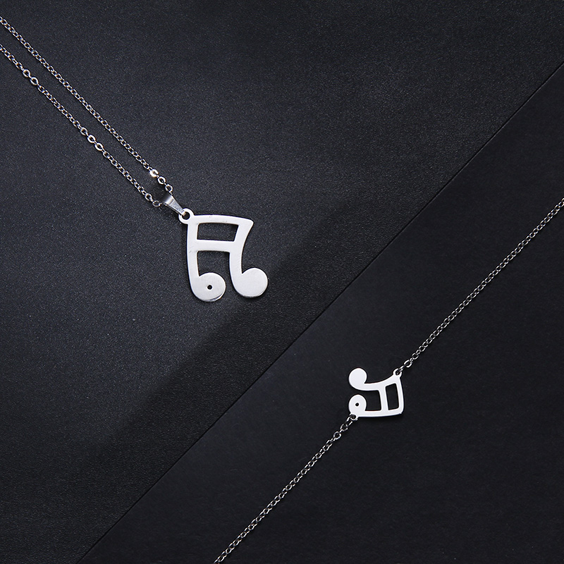 Stainless Steel Set Musical Notes Necklace Bracelets Earrings IMG_1966