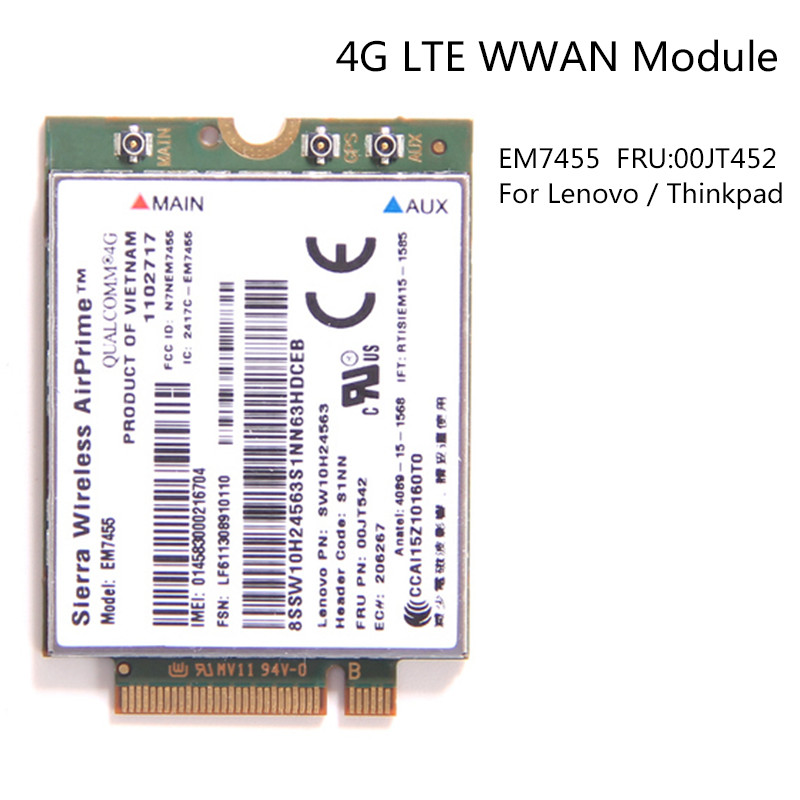 Sierra Wireless Airprime EM7455 Qualcomm 4G LTE WWAN Card UMTS HSDPA HSPA+LTE GPS for IBM Lenovo T460 T460S L460 P70 FRU:00JT542 цены онлайн