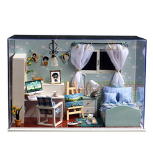 Cute Families House Diy Cottage Ocean Heart Creative Handmade Gift Dolls Furniture Kids Toys Juguetes Brinquedos