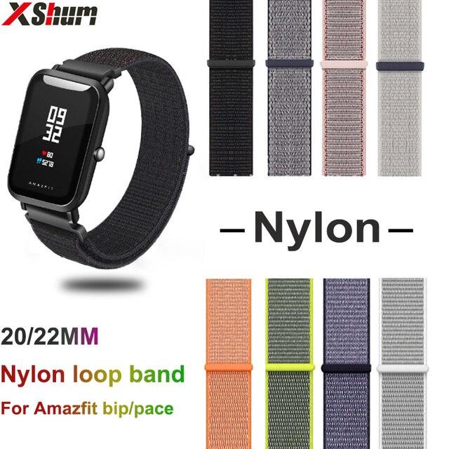 XShum 22mm 20mm Nylon Band For Xiaomi Amazfit Bip Pace Strap Wrist Nylon Loop Velcro Strap Smart Watch Accessories Bracelet