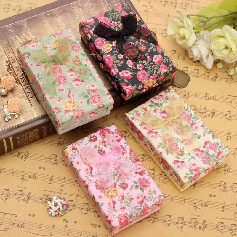 1pc Jewelry Packing Box Bowknot Flower Pattern Cardboard Gifts Box Collecting Storage For Necklace Ring Earrings Jewelry Display