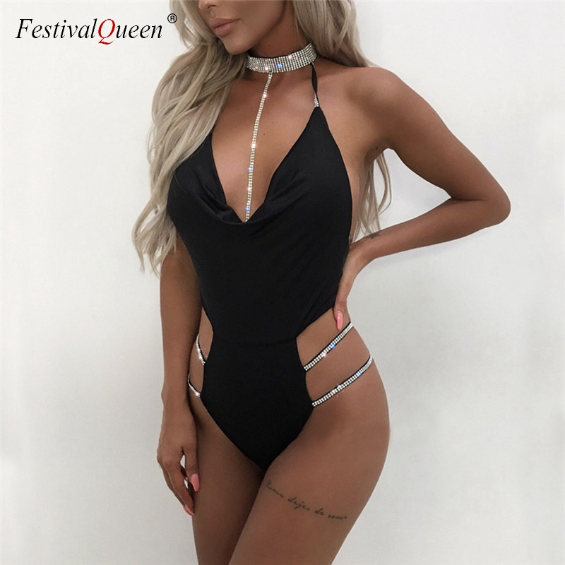 Fashion Shiny Diamonds Halter Bodysuit Women Sexy Deep V Neck Hollow Out Playsuits Party Night Club Backless Bodycon Jumpsuits