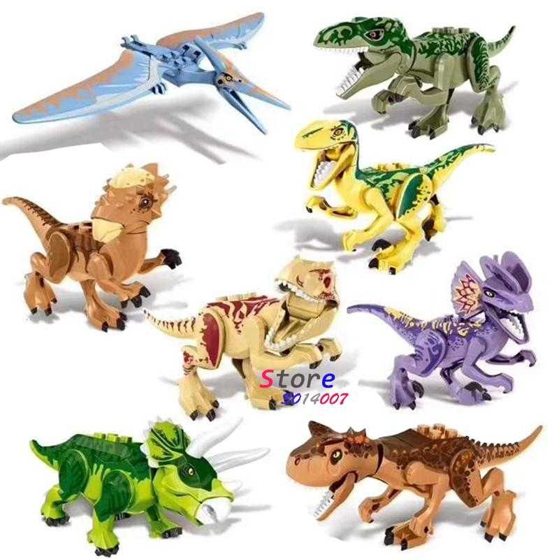 1/Set ZM307 Jurassic Dinosauro Rex Dilophosaurus Velociraptor Tyrannosaurus Costruzione Blocchi di Apprendimento Figura giocattoli per i bambini