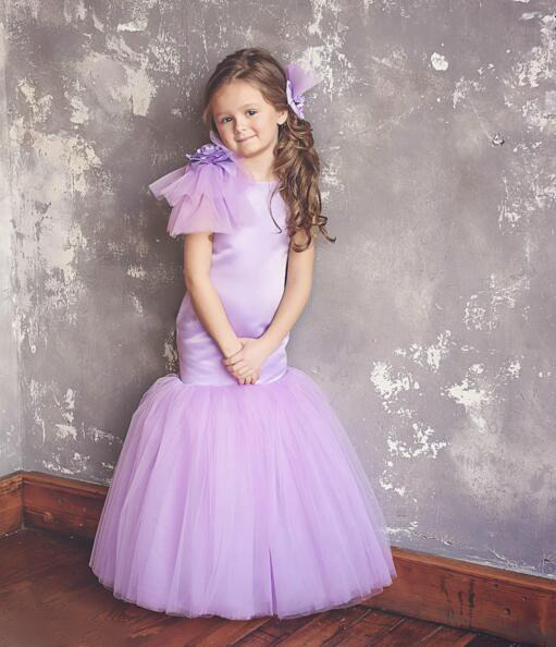 Cute sexy purple lavender baby girl birthday party dress with puffy tulle flowers open back kids pageant