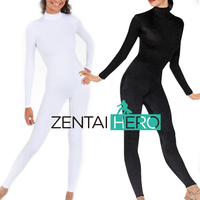Free Shipping DHL Hot Sexy Women's Lycra Spandex Unitard Catsuit Bodysuit No Hand Plus Size Black&White TM001