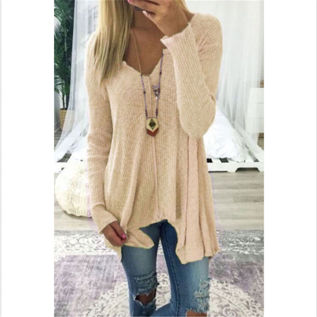 f3ffaabe4848a5 2018 New Knitted Sweater Women V -Neck Long Sleeve Casual Loose Ladies Autumn  Winter Pullover Sweaters Plus Size S -Xxl