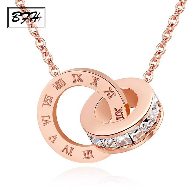 BFH New Fashion Luxury Gold Roman Numeral Necklace Pendants for Women Wedding Pa