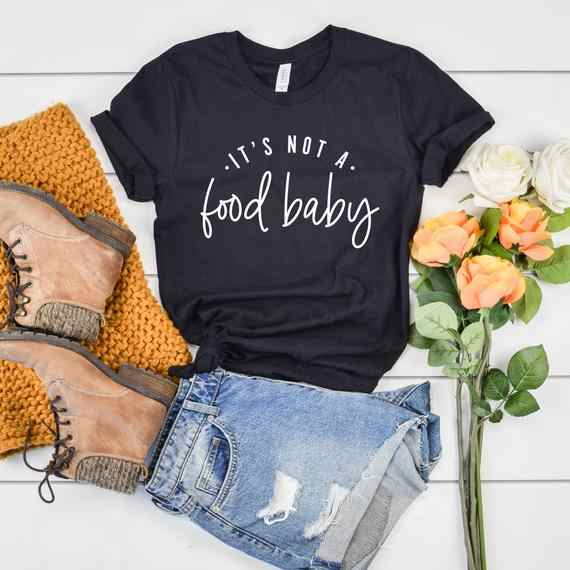 2bdddf0929c31 PADDY DESIGN Pregnancy Announcement It's Not a Food Baby T-shirt New Mom  Pregnant AF