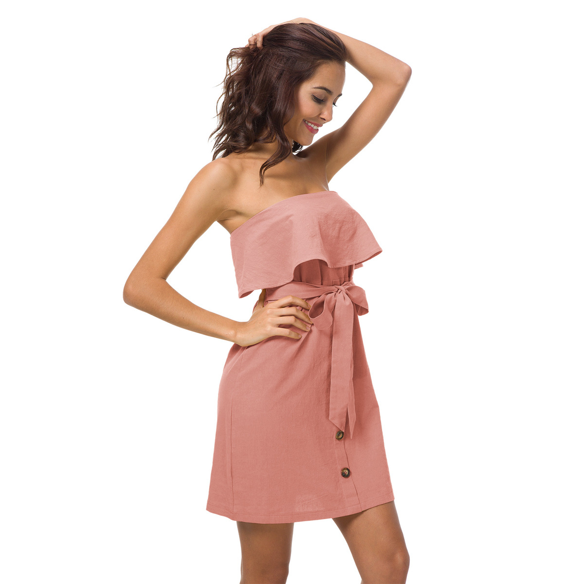 2018 Summer Women Ruffles Dress Strpless Ladies Dresses Sexy Off The Shoulder Wrapped Chest Tunic Bodycon Female Party Vestidos
