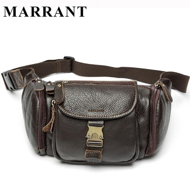 MARRANT Genuine Leather Waist Bag Men's Leather Fanny Pack Belt Bag Men Waist Pack Fashion Male Waist Wallet Man Shoulder Bag