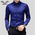 2017 New Arrival Polka Dot Men's Shirt Casual Business Brand Clothing Slim Fashion Long Sleeve Chemise Homme Plus Size 5XL N1170
