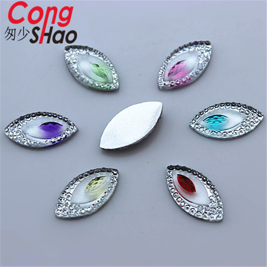Cong Shao 100pcs 9*18mm Dual color Horse eye Acrylic Crystal Rhinestones flat back crafts Scrapbook CS261