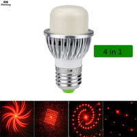Mini Intelligent Laser Multi Map Stage Lights 4 In 1 KTV Stage Laser Light Bulb E27/E26/B22 Led Bulb Family Party DISCO Lamp Red