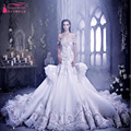 Luxury Gorgeous Mermaid Wedding Dress Arabic Crystal Pleals Wedding Gowns Off Shoulder Bridal Arican vestido branco longo  Z179