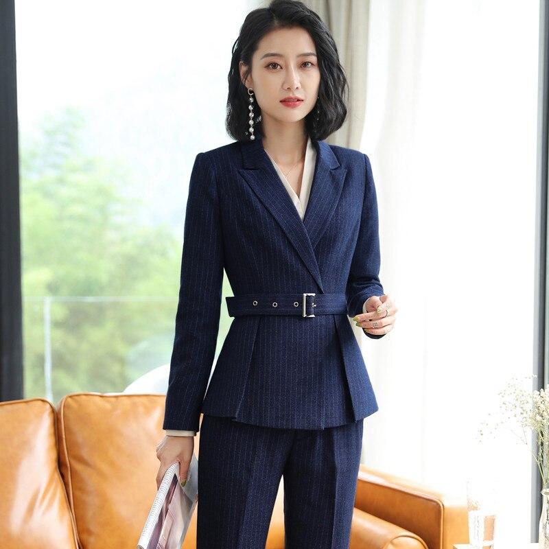 2018 Uniform Office Ladies Business Work Suit Women Slim Fit Pants/Skirts Suits Black Blue Striped Womens 2 Piece Outfit Sets