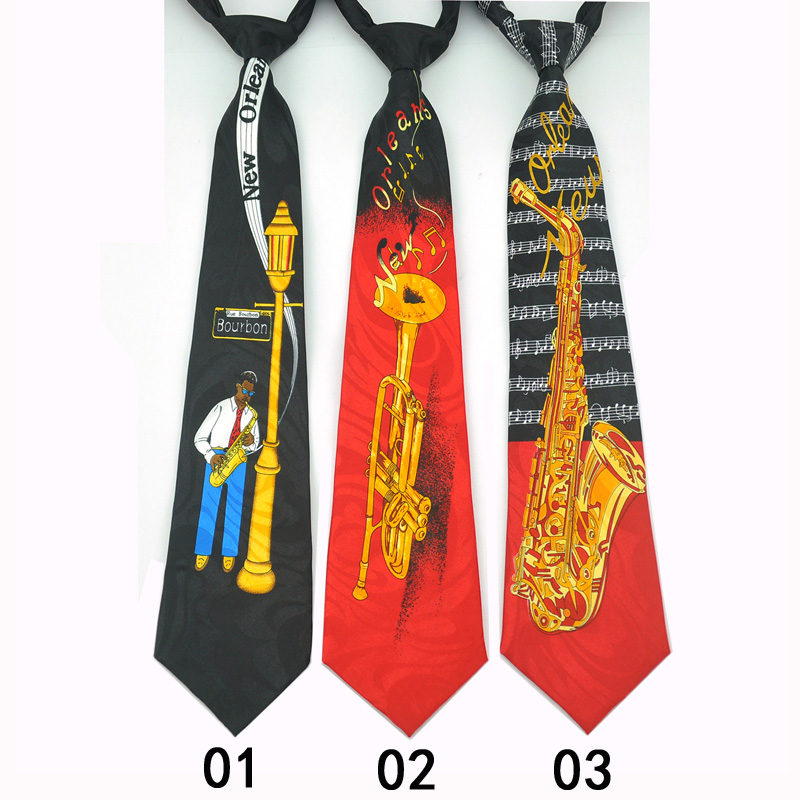 New Arrival 3.6 Inch 5 FashionNew Orleans Music Suona / Sachs Design Mix Polyester Woven Classic Men`s Party Tie-Free Shipping image