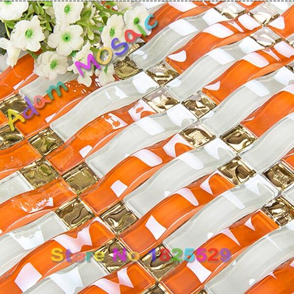 Orange Kitchen Backsplash Tile: Orange Glass Mosaic Tiles 3D Wave Arch Tile Bathroom Wall