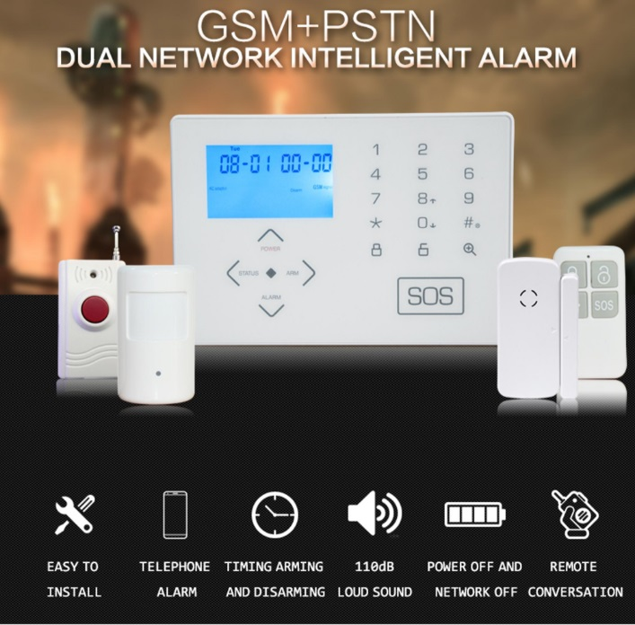 Wireless Smart Home Security GSM Alarm System Remote Control by SMS & Calling with LCD keypad