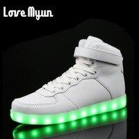 New Lovers Casual Flash Shoes Men Women Fashion Luminous Shoes High Top LED Lights USB