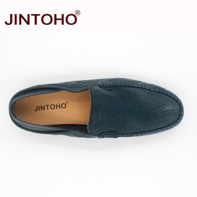 JINTOHO big size 35-47 slip on casual men loafers spring and autumn mens moccasins shoes genuine leather men's flats shoes 4