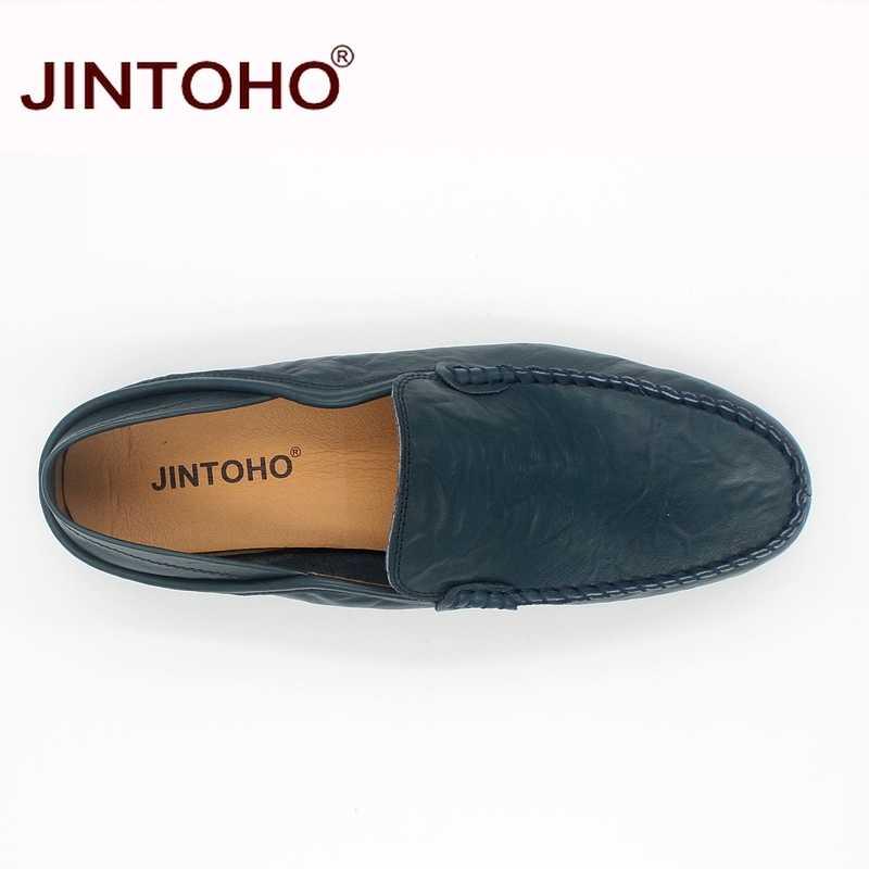 JINTOHO ขนาดใหญ่ 35-47 slip on casual loafers ฤดูใบไม้ผลิและฤดูใบไม้ร่วง mens รองเท้าหนังแท้รองเท้าหนังผู้ชายแฟลตรองเท้า
