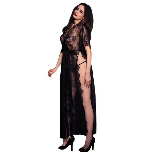 68b1583a971 2017 Fashion Black Sheer Lace Kaftan Robe with Thong For Women Exotic  Apparel Sexy High Quality Ladies Nightdress Sleepwear