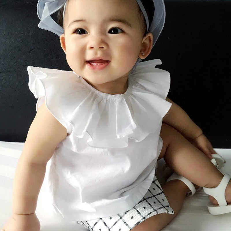 pudcoco Newborn Baby Kids Girls Short Sleeve Princess White Blouse Tops Toddler Summer Clothes