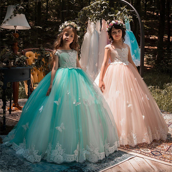 2018 New Design Girls Pageant Dresses Ball Gown Lace Appliqued Butterflies Kids Evening Prom Party Gowns