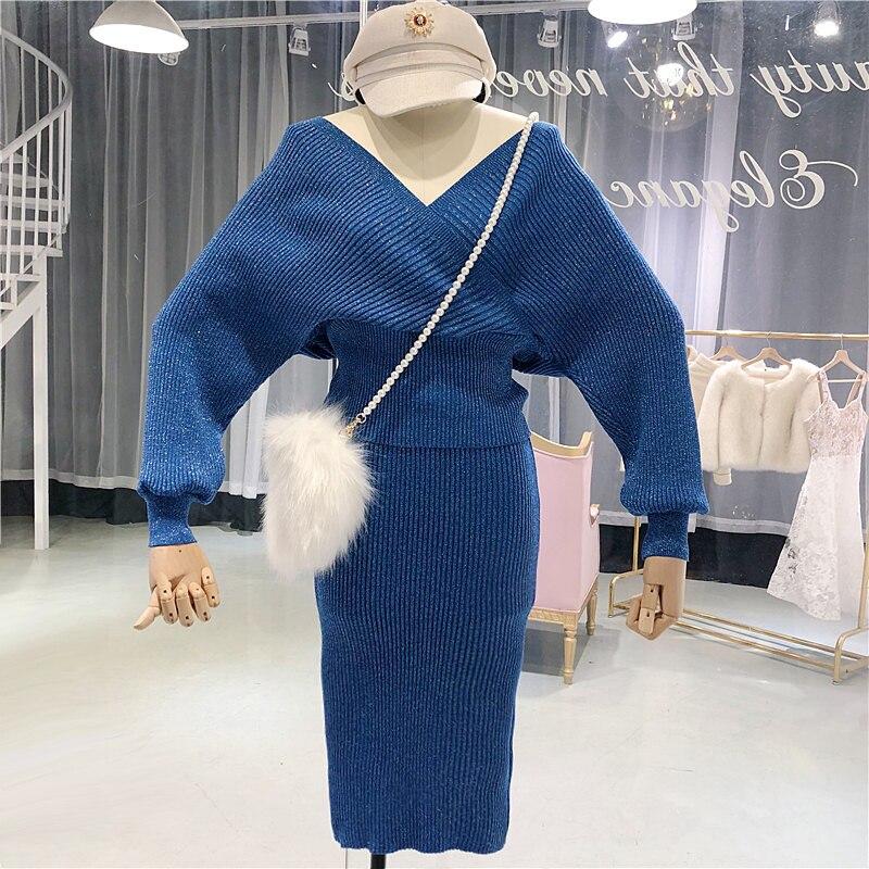 Amolapha Women V Neck Batwing Sleeve Soild Shining Knitting Jumper Tops Skirts 2 Pieces Clothing Sets