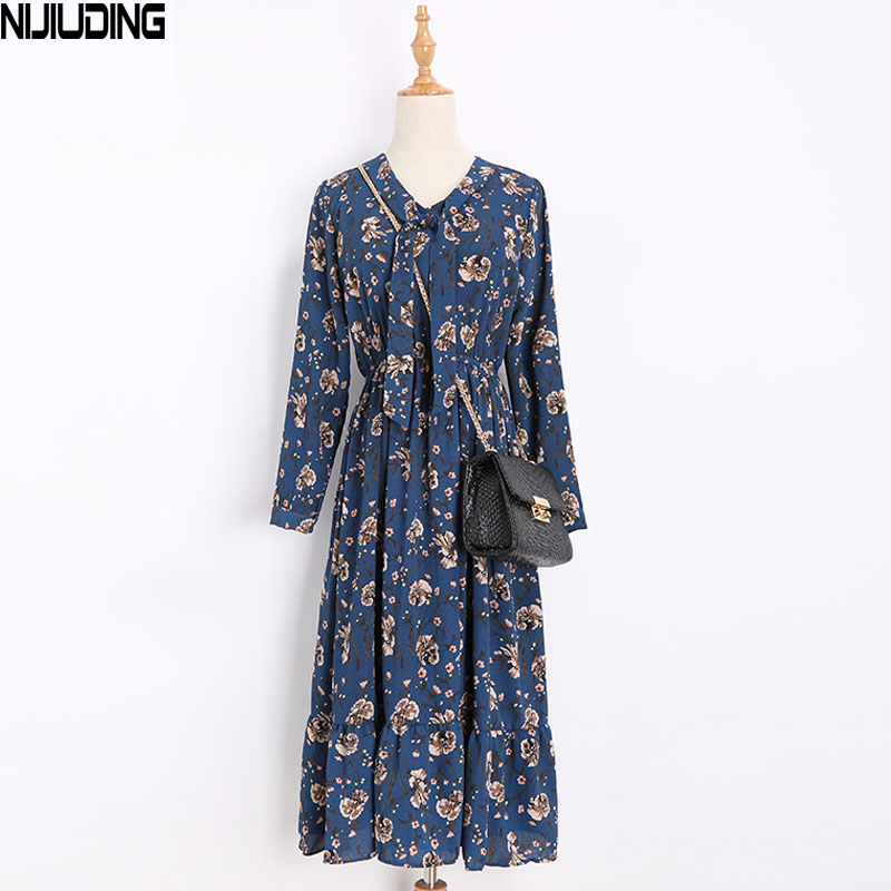 Spring New Printed Chiffon Dress With Long Sleeves Show Thin Waist Belt Render Skirt