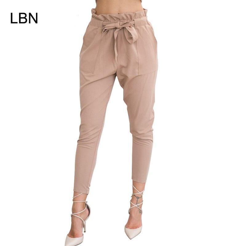 2019 nueva marca de cintura elástica pantalones de harén de las mujeres Primavera Verano moda noveno Pantalones mujer Oficina pantalón negro cinturón