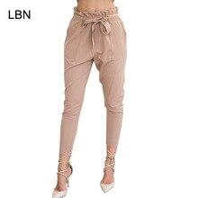 Pantalones harén de cintura alta elástica para mujer, pantalón negro, a la moda, para primavera y verano, 2019