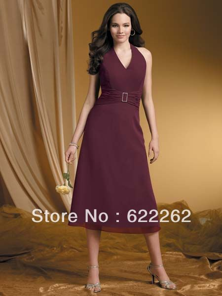 Elegant Fashion A Line Halter Tea Length Chiffon Off The Shoulder Purple Bridesmaid Dresses Simple Designer