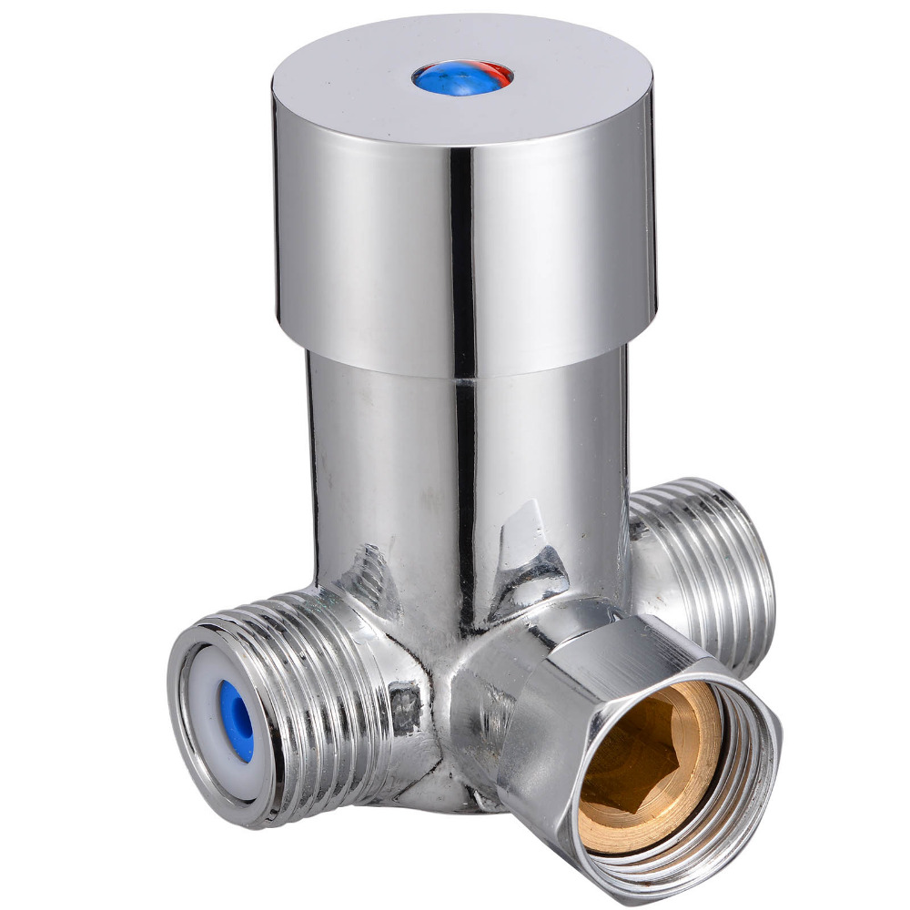 Thermostatic Mixing Valve Temperature Hot Cold Water Control Thermostatic Mixer Mixing Valve Sensor Tap Shower Faucets direct warm mix river system center intelligence water diversion organ temperature control mixing ball valve 25 mm thread 1 mpa