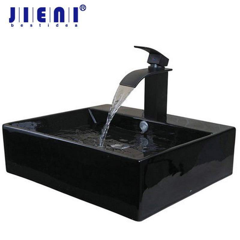 JIENI Black Only The Ceramic Washbasin Vessel Lavatory Basin Bathroom Sink Bath Combine Brass Vessel Vanity