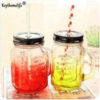 Keythemelife Soğuk içecek su şişesi Vintage Cam Mason Kavanoz Meyve dondurma Infüzyon Temizle Geçişlerini su şişesi BA