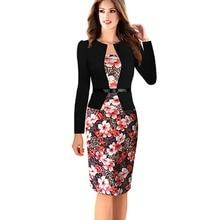 2016 Yaz Kırmızı Bandaj Elbise Hanımefendi Zarif Baskı Ince Emek harcama Vestidos Patchwork Casual Bayanlar Resmi Ofis Kalem Elbise