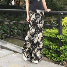 Baroque Linen Casual Black Printing Floral Bloomers Beaded Long pants / Trousers Maxi Pants free shipping
