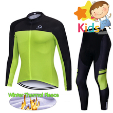 Children Winter Thermal Fleece Cycling Clothing Set Pro Jersey Bike Suits for Kids Kit Ropa Ciclismo 9D GEL