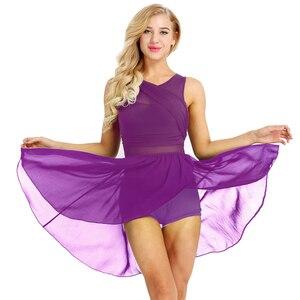 Image 4 - IIXPIN 女性バレエドレスバレリーナダンスノースリーブ非対称シフォン伸縮性のあるバレエダンス体操レオタードドレス