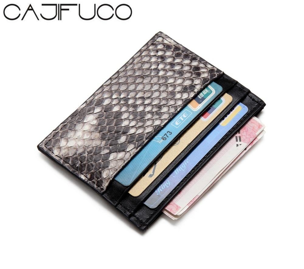 9e0da146741 CAJIFUCO Ultrathin Real Python Skin Porte Carte Magic Wallet Credit Card Holder  Wallet Leather Coin Purse