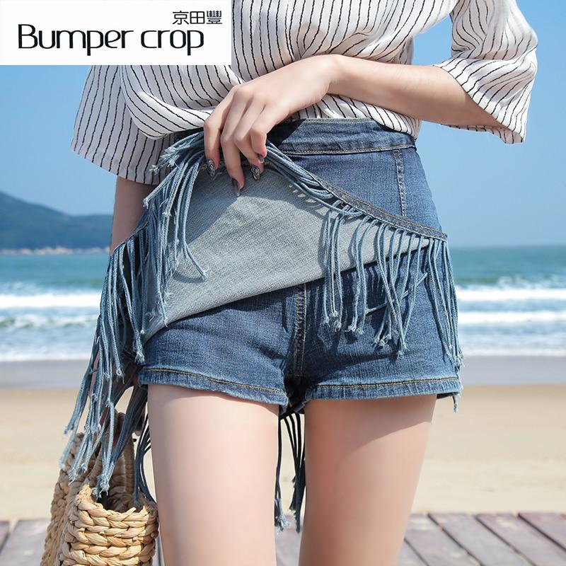 BUMPERCROP Tassel pencil Mini harajuku skirt denim bodycon street wear Solid high waist short woman jeans  korean summer skirt-in Skirts from Women's Clothing    1