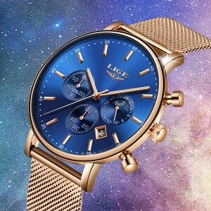 Image 2 - Lige 탑 브랜드 패션 럭셔리 로즈 골드 블루 손목 시계 캐주얼 패션 여성 시계 쿼츠 시계 선물 시계 여성 montre femme