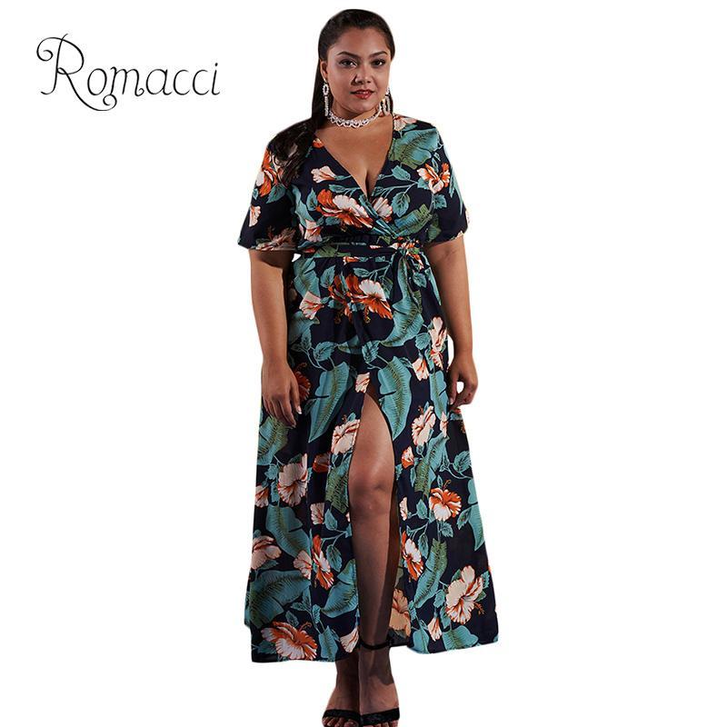67fc283683f Romacci Women Plus Size Long Dress Floral Print Plunge V-Neck High Split  Bohemian Dress
