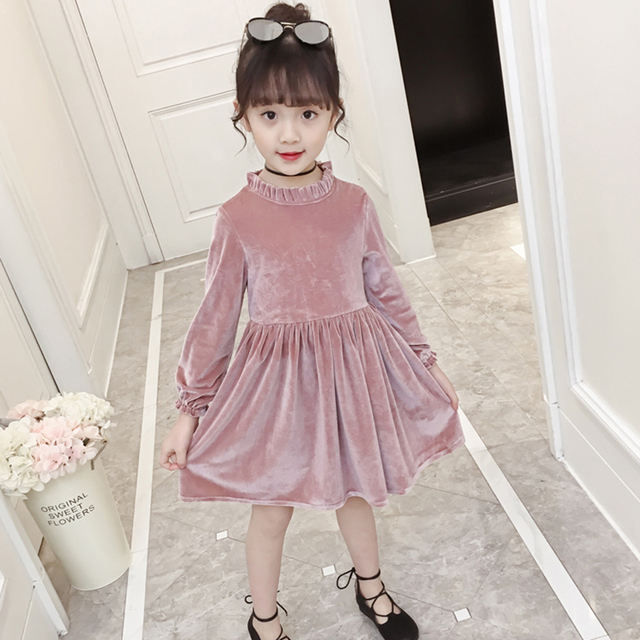 73bc71511 England Style Children Solid Crew Neck Corduroy Formal Teen Dresses Long  Sleeve Baby Girl Party Dress Kids Clothes Spring Autumn
