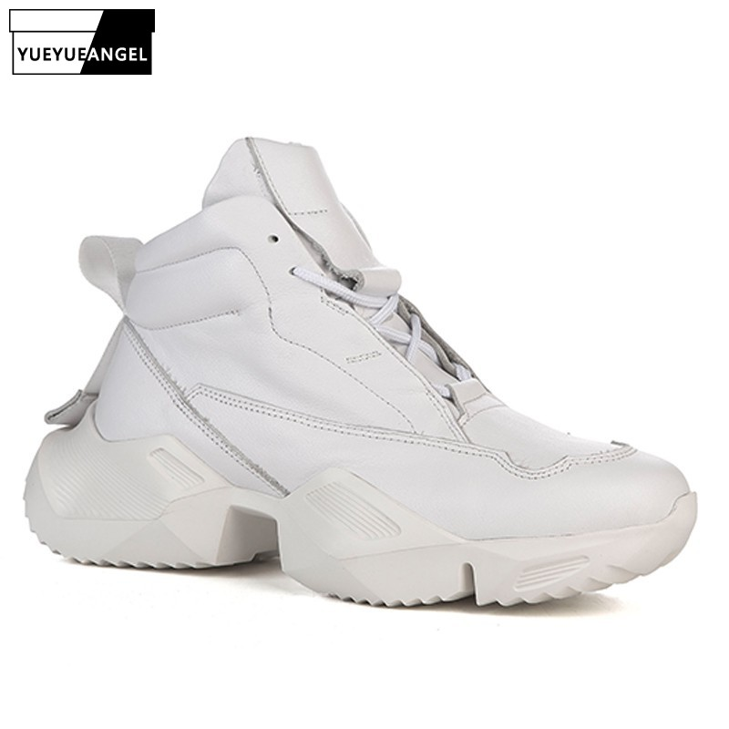 Brand Winter High-Top Platform Sneakers Men Genuine Leather Thick Sole Increased Casual Shoes Top Quality Mens Black Trainers